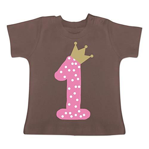 Geburtstag Baby - 1. Geburtstag Krone Mädchen Erster - 1-3 Monate - Braun - BZ02 - Baby T-Shirt Kurzarm
