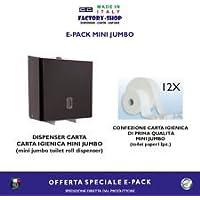 DISPENSER MINI JUMBO ELEGANTE ACCIAIO NERO E BOX DAQ 12 ROTOLI E PACK