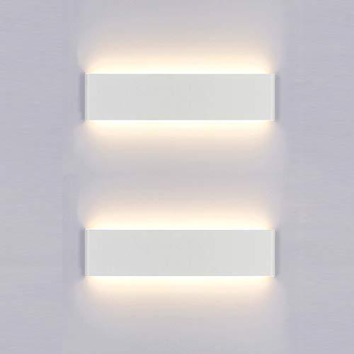 Yafido 2x Aplique Pared Interior LED 30CM Lámpara de pared 12W Blanco Cálido para Salon Dormitorio...