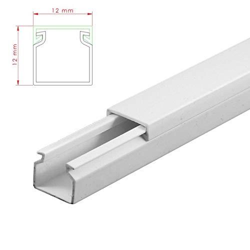 SCOS Smartcosat AVC-010 12m Kabelkanal Weiß Selbstklebend 12x 100cm 12x12mm Deckenkanal bestehend aus Unterteil und Oberteil zur Montage direkt auf der Wand