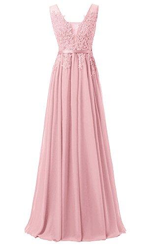 EverBeauties Frauen Bodenlangen Chiffon Perlen V-Ausschnitt Lace Appliques Abendkleider Rosa 40 (Chiffon-applique Bodenlangen)