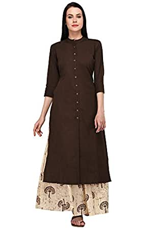 Pistaa Women's Cotton Solid Kurta With Palazzo Bottom Set (Brown, X- Small)