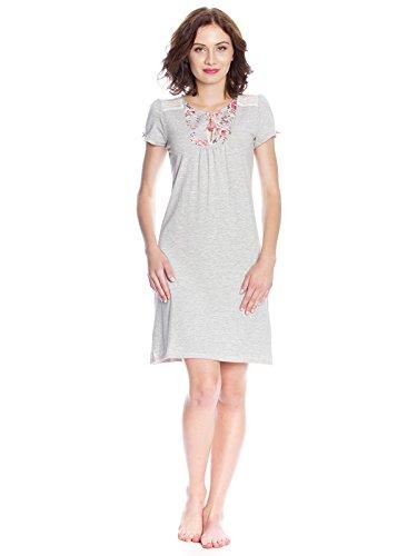 Vive Maria Nuit Fleurie Nightdress, Camicie da Notte Donna, Grau (Grey-Melange Allover), XS