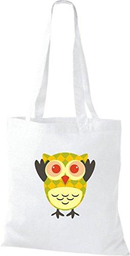 ShirtInStyle Jute Stoffbeutel Bunte Eule niedliche Tragetasche mit Punkte Karos streifen Owl Retro diverse Farbe, weiss weiss
