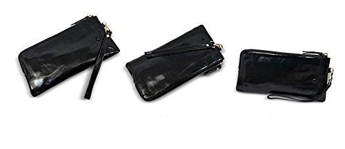 Xinmaoyuan Portafogli donna borsa a mano lungo paragrafo Olio cuoio cera Ladies Wallet fascetta a mano Zipper Bag,Nero Nero