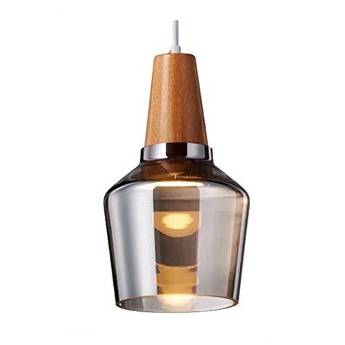 pendelleuchte rund glas, Pendellampe Mit Braunem Klarem Zylinderglas Holz Glas & Schlafzimmer Küche Wohnzimmer Esszimmer Lampen Leuchte Innen, pendellampe braun Höhenverstellbar 1 M -