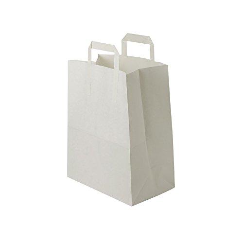 BIOZOYG weiße Papiertüten mit Griff I umweltschonende Papiertüte aus Kraftpapier I Geschenktüte biologisch abbaubar, Tüten kompostierbar I 250 x weiße Papiertragetaschen mit Henkel 22x10x28 cm