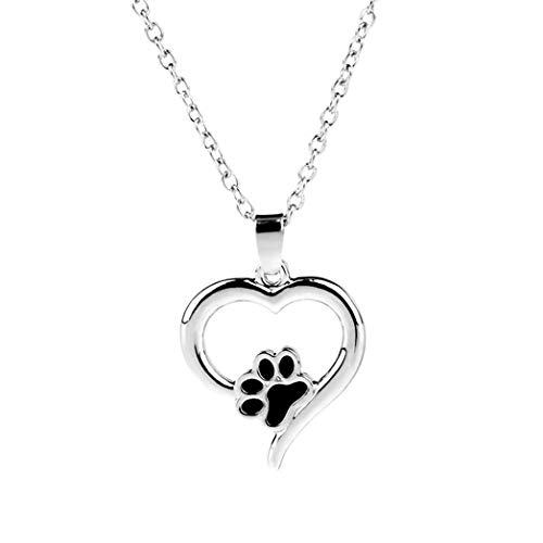 Buelgma Hohl Pet Paw Halsketten Cute Dog Cat Memorial Schmuck Pet Lover Puppy Paw Herz Charme Schwarz Emaille Halskette Mädchen -