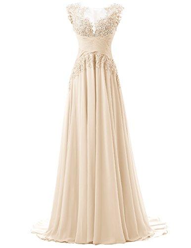 Dresstells, Robe de cérémonie Robe de soirée Robe de gala mousseline appliques en dentelle traîne moyenne Champagne