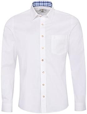 Almsach Trachtenhemd Emil Slim Fit Mehrfarbig in Weiß, Hellblau und Blau Inklusive Volksfestfinder