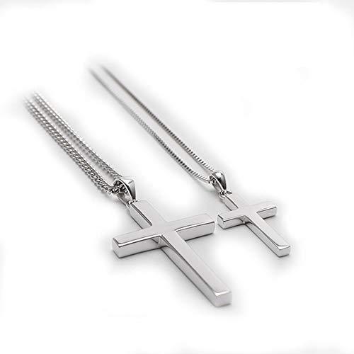 Beautiful girl's shop S925 Sterling Silber Männliche Und Weibliche Paar Glatte Kreuz Halskette Geburtstagsgeschenk Anhänger Silber (Farbe : Girl)