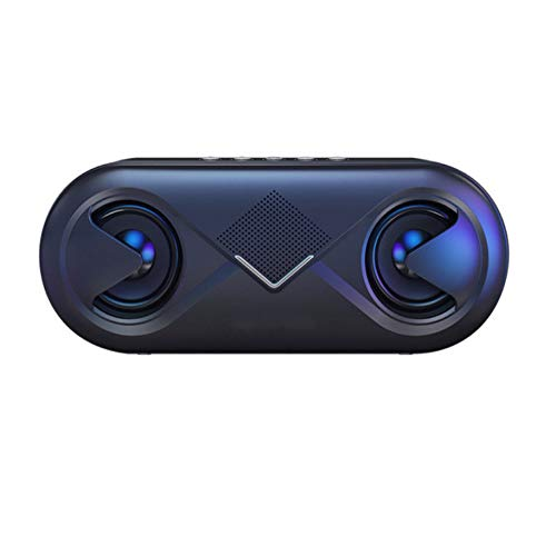 6d Stereo-Sound Tragbarer Bluetooth-Lautsprecher 10 W Drahtloser Lautsprecher Unterstützung für Außenlautsprecher Tf-Karte/USB-Laufwerk/Aux-In Tragbares Schwarz -