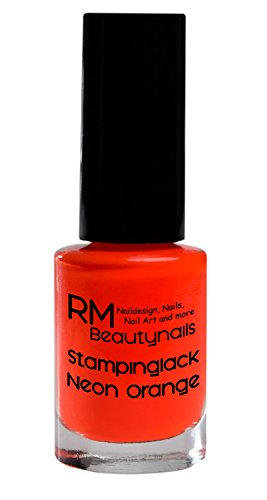 Stampinglack Neon Orange 5ml Stamping Lack Nagellack Nail Polish RM Beautynails - Platten Set Konad