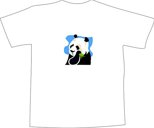 T-Shirt E843 Schönes T-Shirt mit farbigem Brustaufdruck - Logo / Grafik - Comic Design - schöner Panda Bär frisst Bambus Schwarz