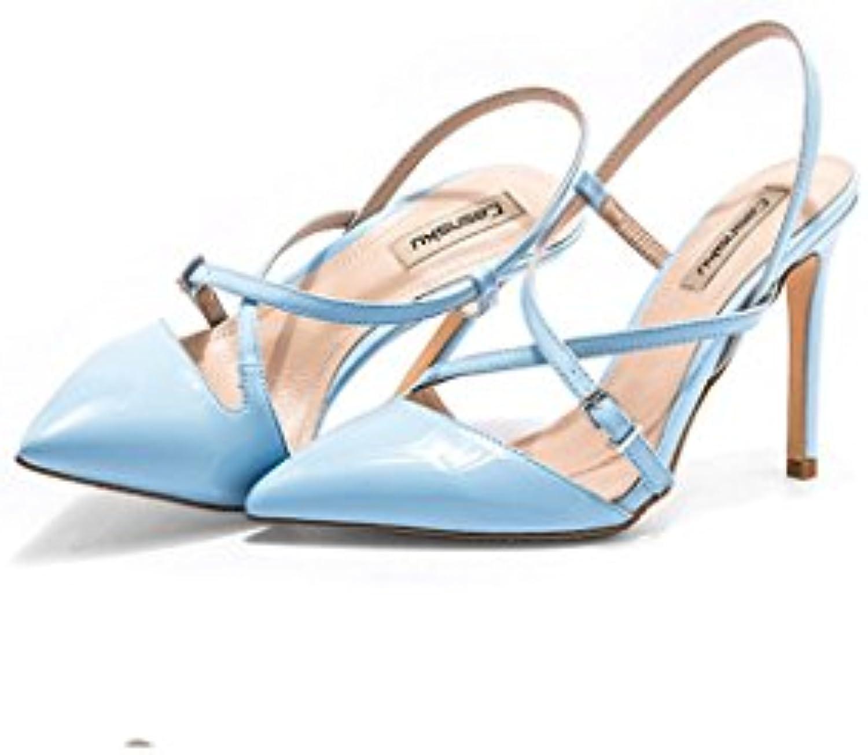 Talons hauts hauts hauts talons hauts sandales élégantes chaussures sexy en cheville chaussures en cuir ( Couleur : Bleu ,...B0748932CHParent abaa12