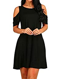 4187d404655d HAOMEILI Women s Cold Shoulder Tunic Top T-Shirt Casual Swing Dress with  Pockets