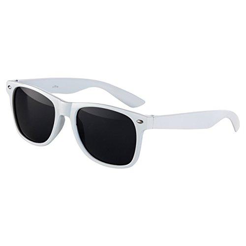 Sonnenbrille Nerdbrille Nerd Retro Look Brille Pilotenbrille Vintage Look - ca. 80 verschiedene Modelle Weiß Classic