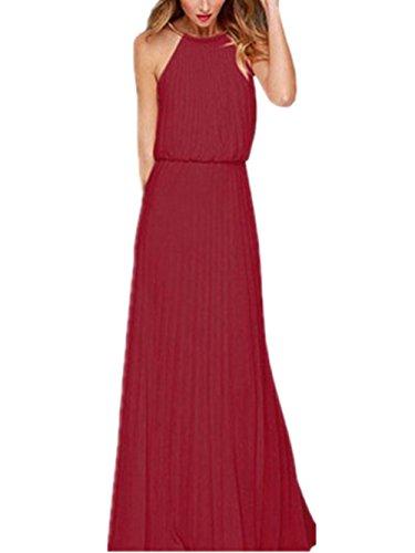 Chez BoBos Femmes Robe de Soirée Mousseline de soie Plissée Halter Col Rond Maxi Bordeaux Rouge
