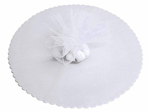 100x velo veli di fata tulle organza tondo veletti bomboniere fai da te confetti (bianco)