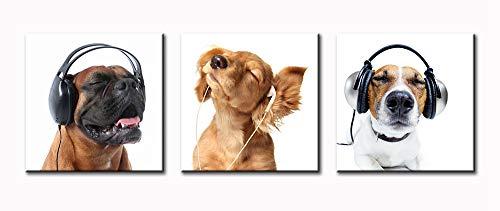 BLINFEIRU-Animal World Cool Dog Kopfhörer hören Musik Serie Bild Gemälde Modern Mops Hund Leinwand Ölgemälde Print Wall Art Deco Rahmen 16x16inchx3 Kugou-yi40 (Bild-serie)