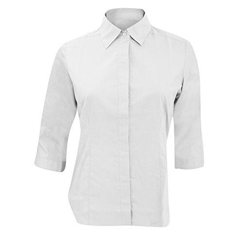 Russell Collection Popelin Bluse, pflegeleicht, tailliert, 3/4-Ärmel (S) (Weiß) -