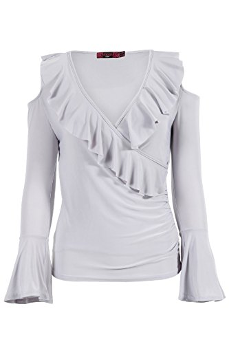 Dames froide épaule Frill Slinky Wrap Wide Sleeve Top EUR Taille 36-42 Gris argenté