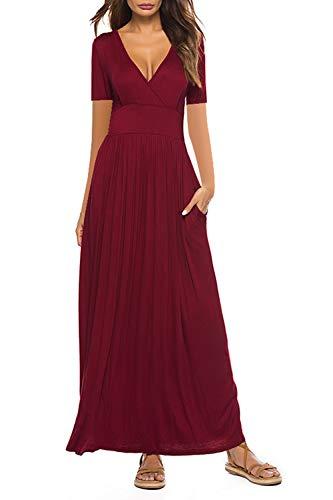 Yidarton Maxikleid Damen Sommerkleid mit Tasche Kurzarm V-Ausschnitt Lange Kleid Strandkleider HoheTaille (XL, A-Rotwein)