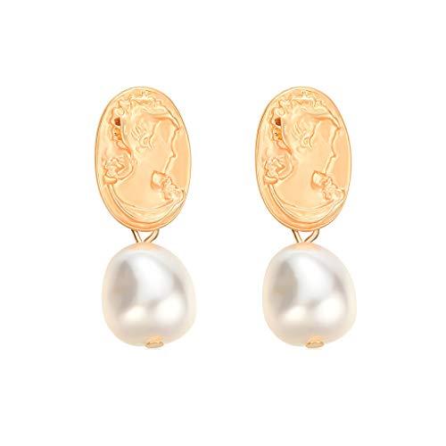 babysbreath17 1 Paar Oval Perlen-Ohrringe Frauen-Mädchen-Frauen-Gesichts-Disc-Perlen-Bolzen-Ohrringe Hochzeit Schmuck