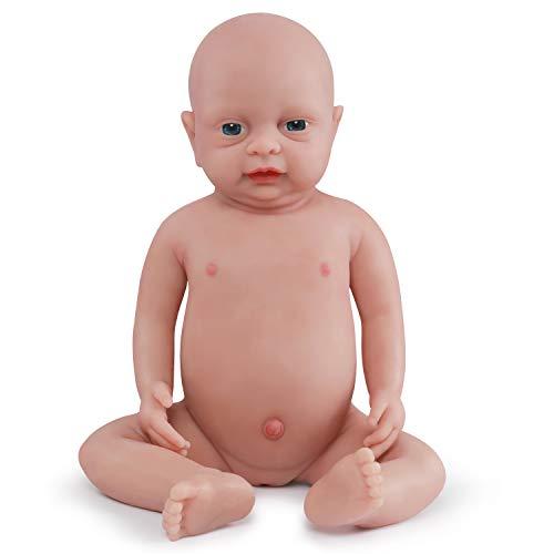 Vollence 46cm Lebensechte Reborn Babypuppen, die Echt Aussehen, PVC-Frei, Echte Realistische Baby Puppe mit vollgewichtetem Körper, Handgefertigte süße Baby-Puppe mit Kleidung - Mädchen