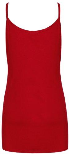 Femmes Uni Sans Manche Femme Extensible Rond Encolure Ronde Camisole Long À Lanières Débardeur Grande Taille Rouge