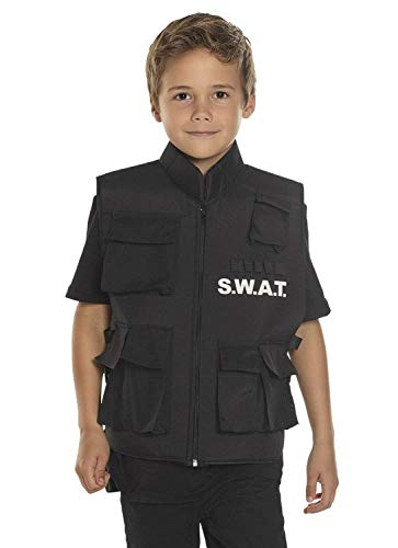 Boland 00488 Weste SWAT für Kinder, Schwarz, 5-10 Jährige