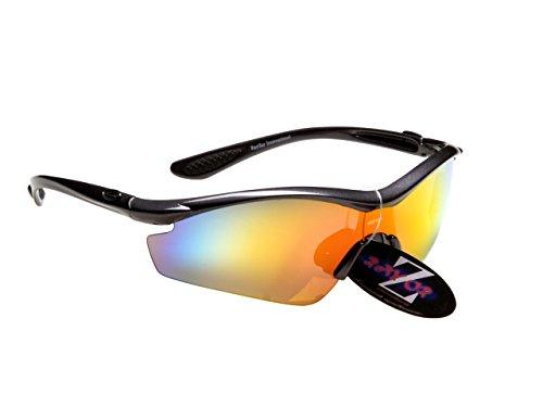Rayzor professionale leggeri Gun Metal Grey UV400 Sport Wrap occhiali da sole in ciclismo con una lente rossa Iridium specchio.