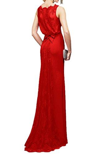 La_Marie Braut Elegant Chiffon Spitze Brautjungfernkleider Partykleider Abendkleider Schmaler Schnitt Bodenlang Fuchsia