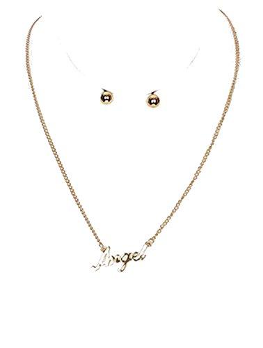 "beyoutifulthings Damen Edelstahl Halskette vergoldet Anhänger Schriftzug ""Angel"" Länge 406cm 1 Paar Ohrringe Kugel vergoldet 1,3cm Set (Kette Geldbeutel Kugel)"