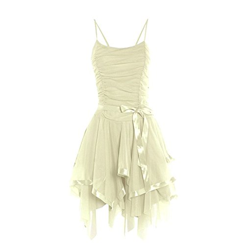Fashion 4 Less - Robe - Robe de cérémonie - Sans Manche - Femme Crème
