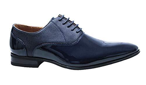 Evoga scarpe uomo class blu lucide eleganti cerimonia (41)