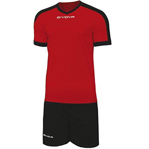 Marchio Givova - modello kit revolution - completino di maglia manica corta e pantaloncino / Home Shop Italia Rosso-Nero