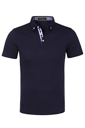 MAROJO Herren Poloshirt Slim Fit Kurzarm Einfarbig Karo Patchwork Sommer T-Shirt Men's Polo Shirt (Dunkelblau, M) - Herren Pique Polo Solid