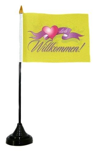 Fahne / Tischflagge Herzlich Willkommen Herz Tischfahne Flagge
