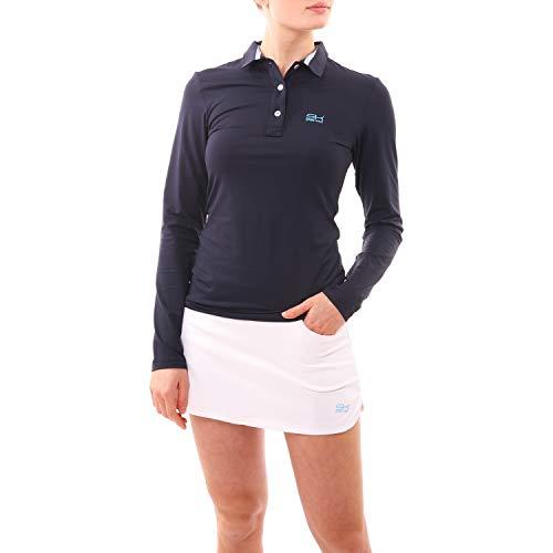 Sportkind Mädchen & Damen Tennis/Golf/Sport Langarm Poloshirt, Navy blau, Gr. XXL