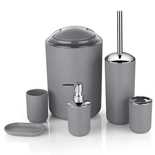 6-teiliges Luxus-Badezimmer-Set aus Kunststoff, bestehend aus Lotionsflasche, Zahnbürstenhalter, Zahnputzbecher, Seifenschale, WC-Bürste, Abfalleimer grau