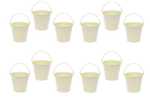 r aus Zink, cremefarben, Shabby-Chic-Stil, Party-Hochzeits-Gastgeschenke/Miniatur-Garten-Bastelzubehör/Geschirr für Marmeladen, Saucen, Dips. 5,5 cm 12 BUCKETS ()