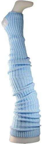 Damen Stulpen Formstabil Hellblau 92cm 1 Paar Beinwärmer Extralang Oberschenkel / Overknee - Ballettstulpen Fersenloch (Hellblau Bekleidung)
