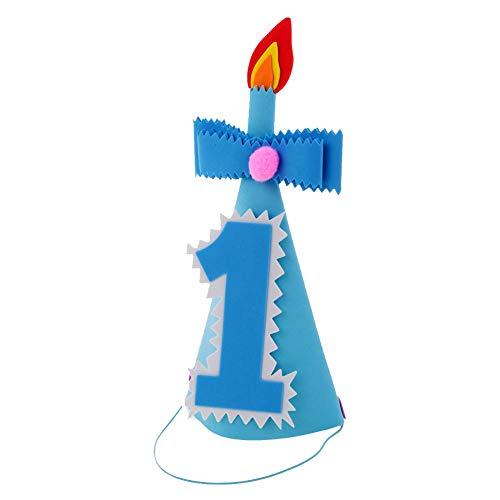 SpringPear 1. Geburtstag Party Blau Junge Hut mit Zahlen Kopfschmuck Geburtstagsfeier Dekoration Zubehör für Baby Fotoshooting