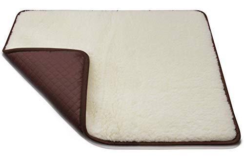 LUGUNO® Hundekissen - flauschig weich & wasserabweisend I Größe L, 100x70 cm, Braun I Merino Wolle I für Katzen & Hunde geeignet I Hundedecke Hundematte
