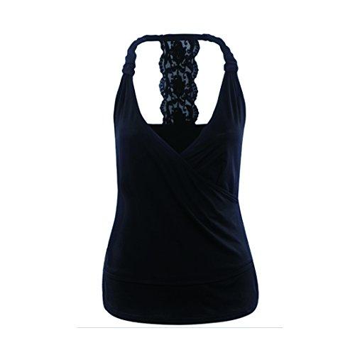 Inlefen Ropa de Mujer Camiseta Camisa de Costura Sexy Escote en V Profundo Tops Color Puro Autocultivo Tops Ropa de Mujer Vestimenta Encaje Camisa de algodón L