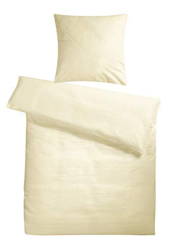 Carpe Sonno extra softe Seersucker Bettwäsche Creme Beige Uni 135 x 200 cm - Kühle Sommer-Bettbezüge aus 100% gekämmter Baumwolle - Modern einfarbig bügelfrei Kochfest Bettwaren-Garnitur - Creme Seersucker