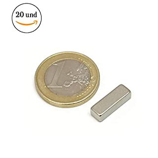 20Pieces of Neodymium Magnet Block–15mm long x 5mm Wide x 4mm thick–Force of Atraccion 1.9kg–4180Gauss