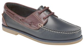 G316NVB Dek Mens Navy Brown Leather Lace Up Boat Deck Shoes Size UK 10