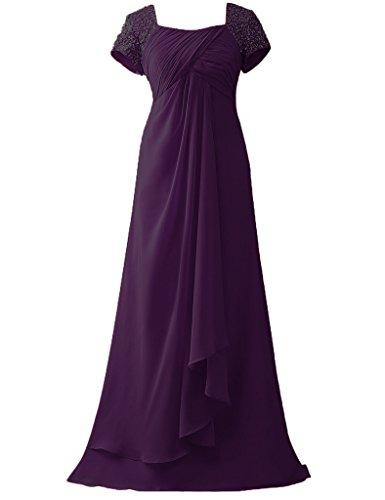 HUINI Kappen H¨¹lsen Korn Chiffon lange Abschlussball Formale Kleider Mutter der Braut Kleider Traube